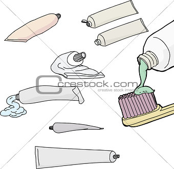 Toothpaste Tubes Over White