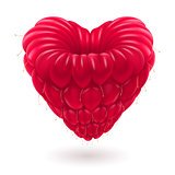 Raspberry in heart shape.
