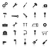 Tool icons with reflect on white background