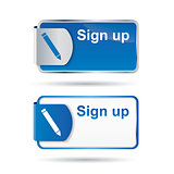 Sign up button with reflective web2 design