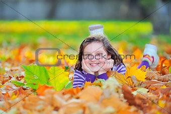 little girl on autumn