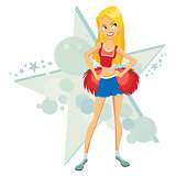 Cartoon cheer leader