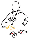 Gambler with cards