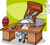 easter bunny businessman cartoon