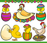 easter chickens set cartoon illustration