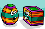 easter square egg cartoon illustration