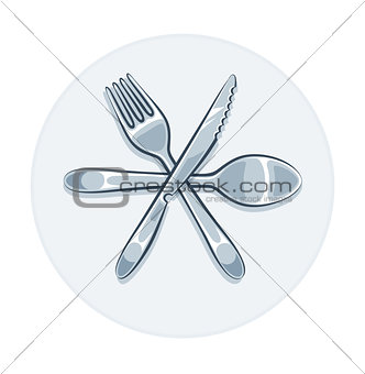 Kitchen utensils fork knife and spoon