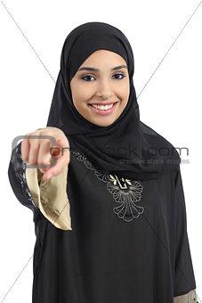 Saudi arab woman pointing at you and looking at camera
