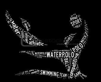 waterpolo word cloud with white wordings