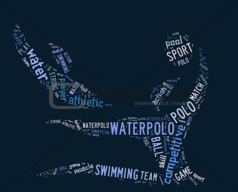 waterpolo word cloud with blue wordings