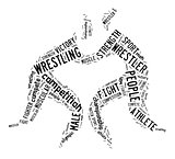 wrestling word cloud with black wordings