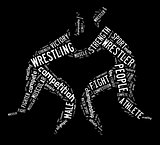 wrestling word cloud with white wordings