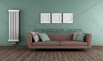 Green and brown vintage living room