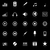 Music icons with reflect on black background