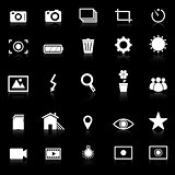 Photography icons with reflect on black background