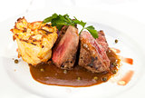Grilled Sirloin with pepper sauce and potatoes