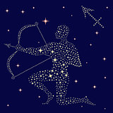 Zodiac sign Sagittarius on the starry sky