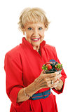 Healthy Senior Woman With Berries