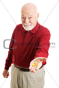 Senior Man with Omega 3 Fish Oil