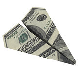 Paper airplane from the dollars