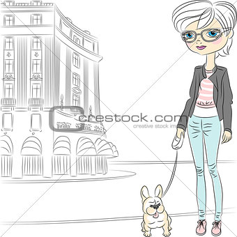 Vector hipster fashion girl with dog