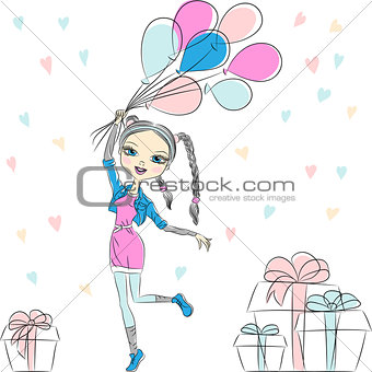 Vector hipster fashion girl with multi-colored balloons