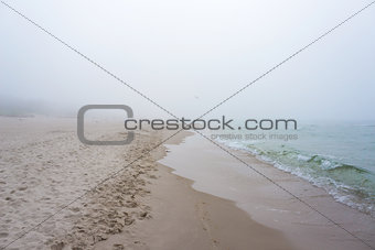 Foggy weather by the sea. Baltic beach.