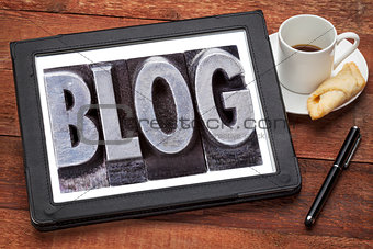 blog word on digital tablet