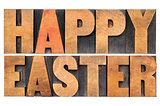 Happy Easter in wood type
