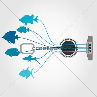 Fish a guitar