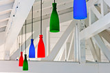 decorative colored lanterns under a white wooden ceiling beach b
