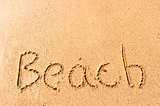 word written on beach wet sand