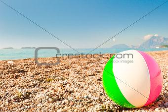 beach ball on the beach by the sea
