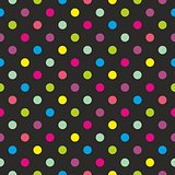 Seamless dark vector pattern or texture with colorful polka dots on black background