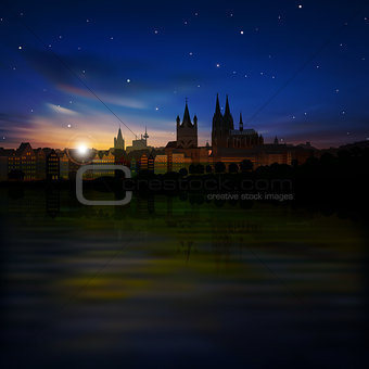 abstract background with silhouette of koln