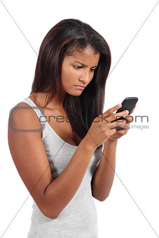 Beautiful african american serious model woman browsing her smart phone