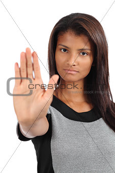 Beautiful african american woman making stop gesture with the hand