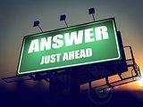 Answer Just Ahead on Green Billboard.