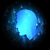 Profile of Human Head on Digital Background.