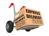 Express Delivery - Cardboard Box on Hand Truck.