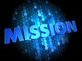 Mission on Dark Digital Background.