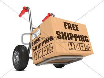 Free Shipping - Cardboard Box on Hand Truck.
