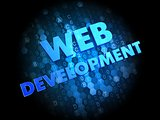 Web Development on Dark Digital Background.