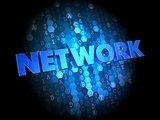 Network on Dark Digital Background.