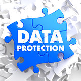 Data Protection on Blue Puzzle.