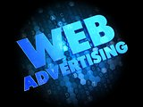 Web Advertising on Dark Digital Background.