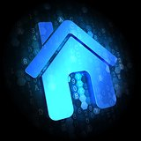 Home Icon on Digital Background.