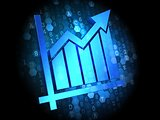 Growth Chart Icon on Digital Background.
