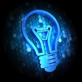 Light Bulb Icon on Digital Background.