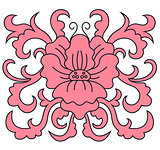 Pink floral pattern with foliate elements
